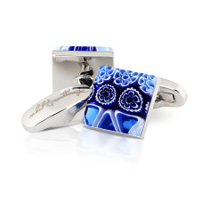 Petali Blu Murano glass cufflinks