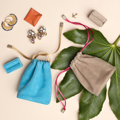 Luxury Suede Leather Jewellery Pouch and Removable Ring Cushion