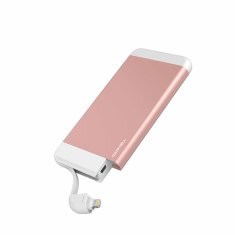 Ultra slim power bank with integrated apple lightning cable (Rose Gold)