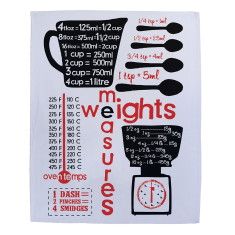 Weights and measures tea towel