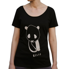 Women's hello panda black organic cotton t-shirt