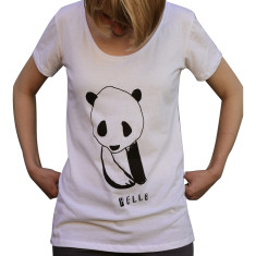 Women's hello panda white organic cotton t-shirt