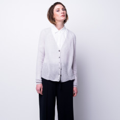 Rib-knit cloud cashmere cardigan in fog grey
