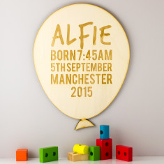 Personalised Balloon Wooden Sign