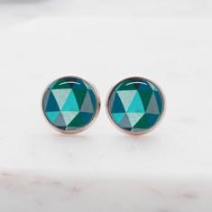 Blue geometric glass stud post earrings in silver