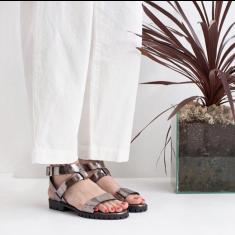 Comet Ankle Strap Leather Sandals - Metallic Platinum