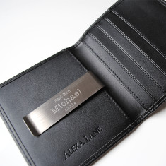Men's leather wallet with personalised engraved money clip in black or brown leather
