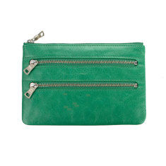 Molly leather wallet in emerald