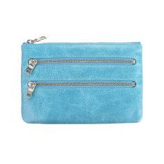 Molly leather wallet in sky blue