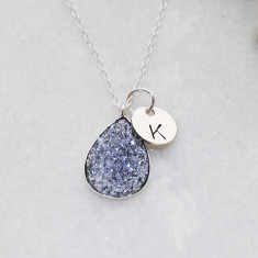 Personalised grey druzy teardrop necklace in sterling silver