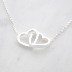 Entwined hearts love forever necklace in silver