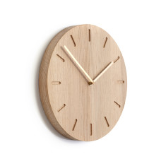 Applicata Watch:Out oak clock (brass, grey or mandarin hands)
