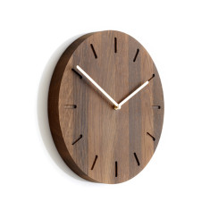 Applicata Watch:Out smoked oak clock with brass hands