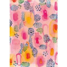 Watercolour patterns print in pink