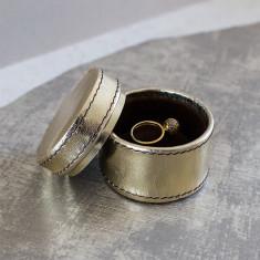 Personalised Metallic leather ring box round
