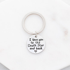 I love you to the death star and back keyring in silver