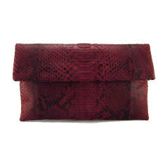 Red rose motif python leather classic foldover clutch