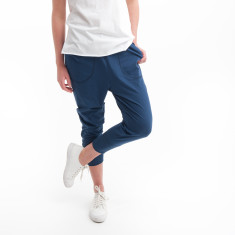 Three Quarter Cotton Zip Pant in Denim Blue