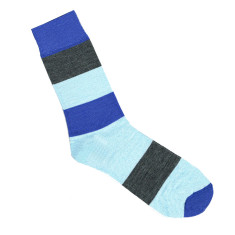Lafitte blue and grey block wool socks