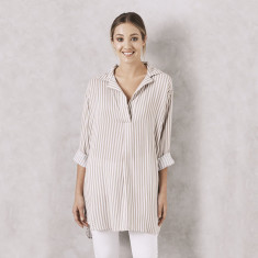 Striped Dress Shirt in Almond