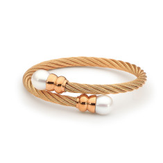 Rose gold plated double white pearl steel bangle