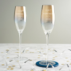 Personalised 'Vintage' Birthday Gold Champagne Flute