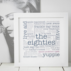 Personalised 1980s 30th birthday print