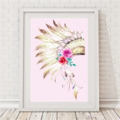 Boho Tribal Headdress Print