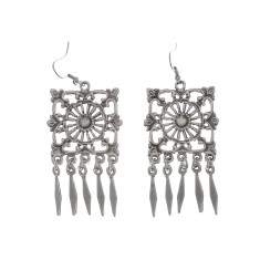 Square silver tribal statement earrings