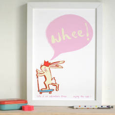 Inspirational Scooting Rabbit Whee! Art Print