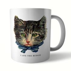 Naughty Kitty: Budgie Ceramic Mug