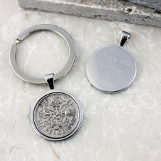 Sixpence 50th birthday coin key ring