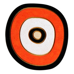 Orange, black and white circle brooch