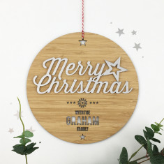 Merry Christmas Personalised Mirror Family Wall Hanging