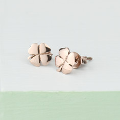 One for luck clover sterling sIlver studs in rose gold