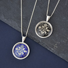 Sixpence Sterling Silver Enamel Coin Necklace