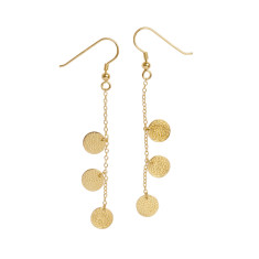Frida three coin earrings in yellow gold