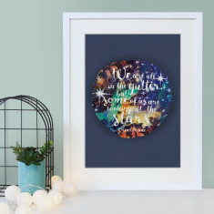 Oscar Wilde Quote - We're All in the gutter - star effect print