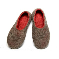 Women's Felt Slipper Red Brown Kangaroo