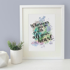 Wherever you go, go with all your heart watercolour map blot print