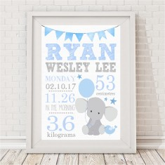 Personalised elephant birth print