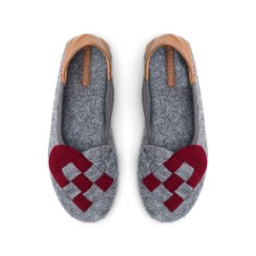 Elskling Slipper, Grey/Red Wool Felt