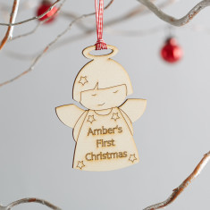 Personalised Angel wooden Christmas decoration