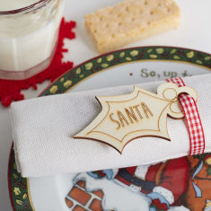 Personalised wooden Christmas napkin place setting tag