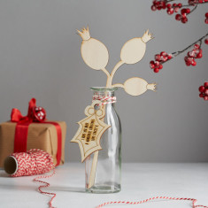 In your own words personalised wooden Christmas flowers