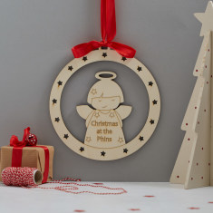 Personalised angel wooden Christmas wreath