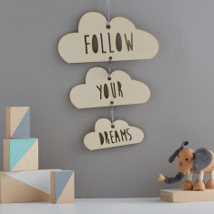 Personalised triple wooden cloud hanging decorations