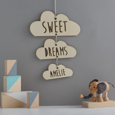Personalised sweet dreams wooden cloud mobile