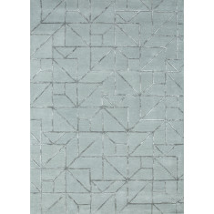 Pastel Blue/Medium Gray hand tufted wool & art silk rug