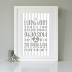 Personalised typography wedding art print